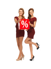 two teenage girls in red dresses with percent sign