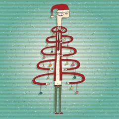 Funny Human Christmas Tree Greeting Card