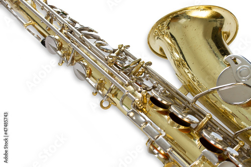 Saxophone detail isolated on white