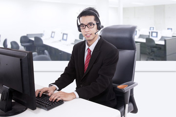Businessman customer service support