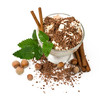ice cream with chocolate, nuts and cinnamon