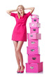 Woman with stack of giftboxes