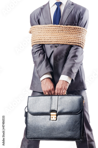 Man tied up with rope on white