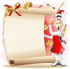 Santa Cook with Christmas Menu-Menu di Natale-Cuoco Babbo Natale