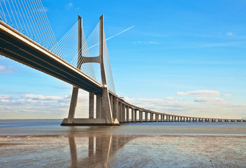 Vasco da Gama bridge in Lisbon, Portugal.