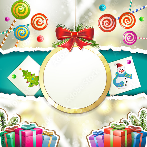 Christmas with gifts and hanging ball shape