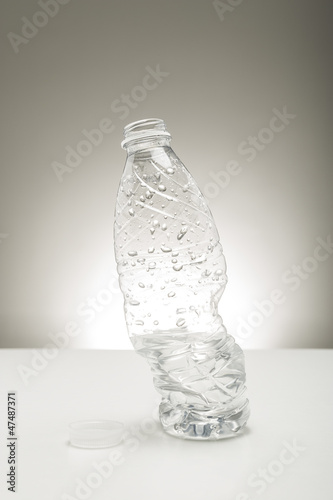 Twisted distorted bottle of water