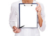 medical female doctor holding blank billboard isolated on white