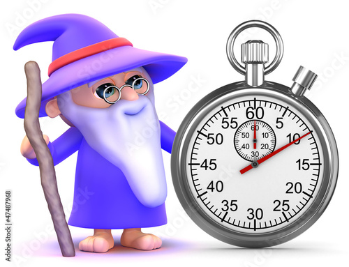 Wizard times the event with his stopwatch