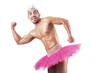 Muscular ballet performer in funny concept