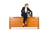 Businesswoman woman on the desk