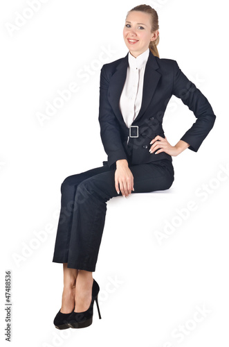 Woman businesswoman sitting on virtual wall