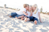 Adorable Sibling Children Kissing the Youngester