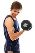 Handsome and sporty guy lifting dumbbell