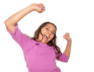 Happy Hispanic Girl Dancing Isolated