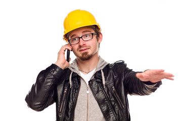 Handsome Young Man in Hard Hat on Phone