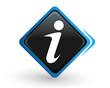 icône information sur bouton carré bleu design