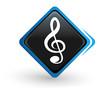icône clef de sol sur bouton carré bleu design