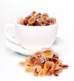 Heap of sweet sugar candies in the cup
