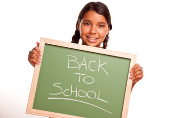 Pretty Hispanic Girl Holding Chalkboard with Back To School