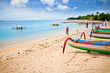 canvas print picture - Traditional fishing boats on a beach in Nusa Dua on Bali.