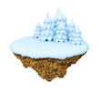 New Year little snowy levitate stylized island / planet.