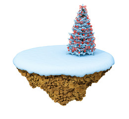 New Year little snowy levitate island / planet.