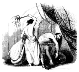 Woman whipping a Man