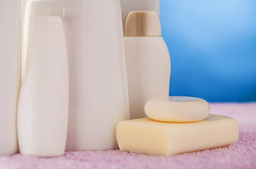 bottles cosmetics and soap