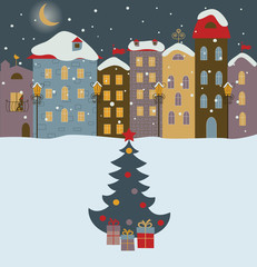 Winter town with christmas tree.