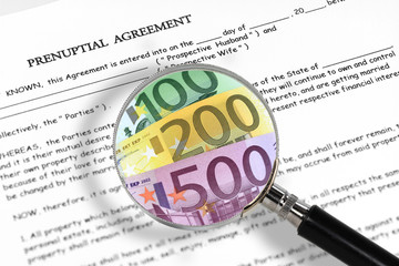 prenuptial agreement, magnifying glass and euro notes