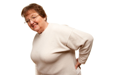 Senior Woman with Backache on White