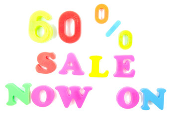 60% sale now on written in fridge magnets