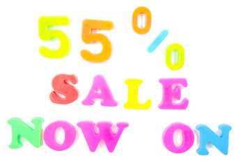55% sale now on written in fridge magnets
