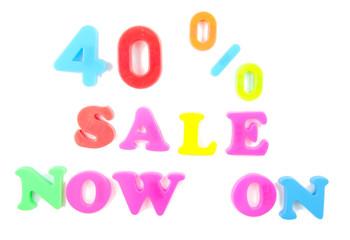 40% sale now on written in fridge magnets