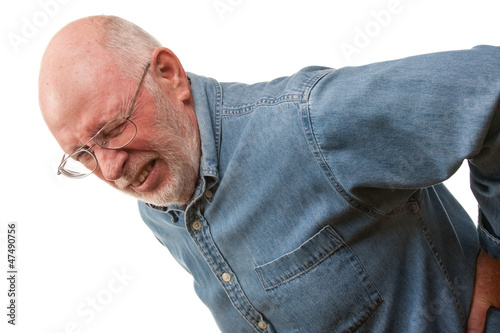 Senior Man with Hurting Back on White