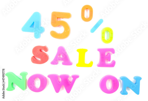 45% sale now on written in fridge magnets