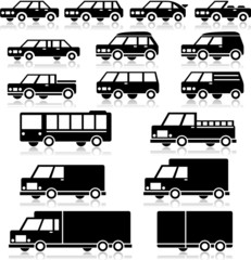 Vector Retro Vehicles Icon Set
