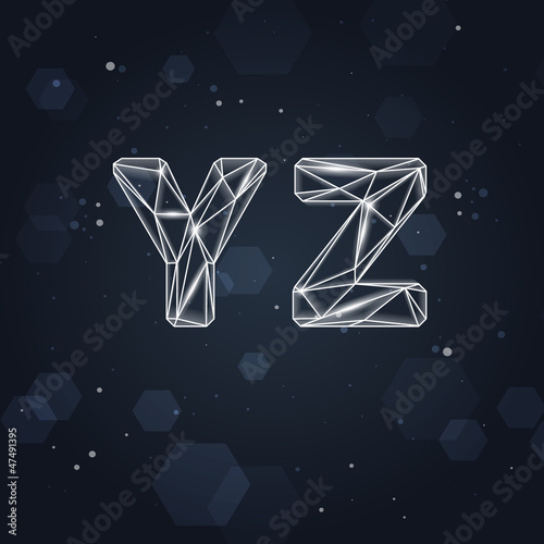 Vector Constellation Geometric Font Y-Z