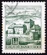 canvas print picture - Postage stamp Austria 1967 Schatten Castle, Feldkirch, Vorarlber