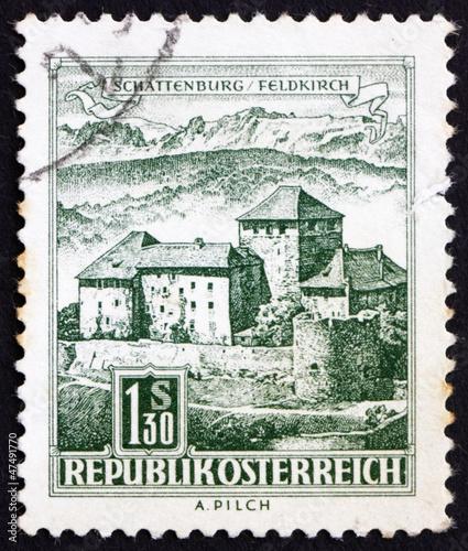 canvas print picture Postage stamp Austria 1967 Schatten Castle, Feldkirch, Vorarlber
