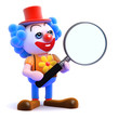 Clown looks through magnifying glass