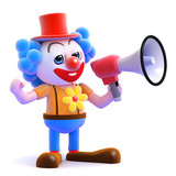 Clown with megaphone