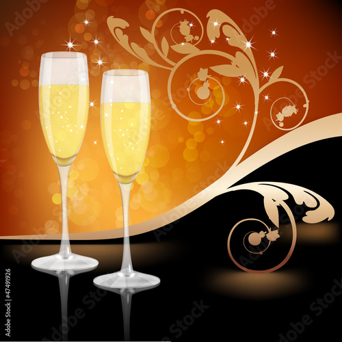 Glass of champagne with ornament leaves