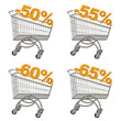 Set of shopping cart with discount.