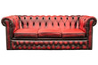 Vintage red sofa isolated on white