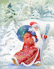 Santa Claus wishes a happy new year and Christmas