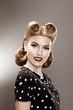 Vintage. Retro Woman in Polka Dot Dress Portrait - Pin Up
