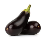 Two black eggplants isolated on white