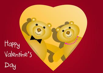 Orsetti dietro un cuore San Valentino vector
